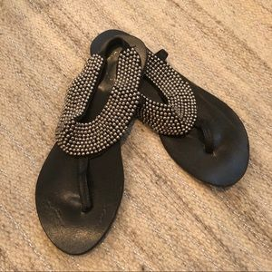 Urban Outfitters black silver beaded sandals